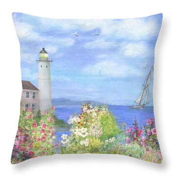 Illustrated Lighthouse By Summer Garden Throw Pillow