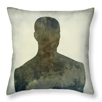 Illustration Of A Human Bust. Silhouette Throw Pillow by Bernard Jaubert