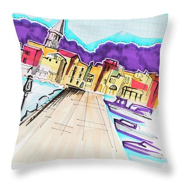 illustration of travel, Italy Throw Pillow