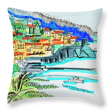 illustration of travel, Spain Throw Pillow