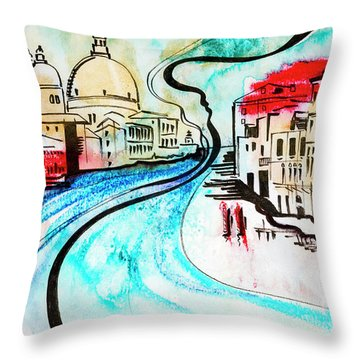illustration of travel, Venice Throw Pillow
