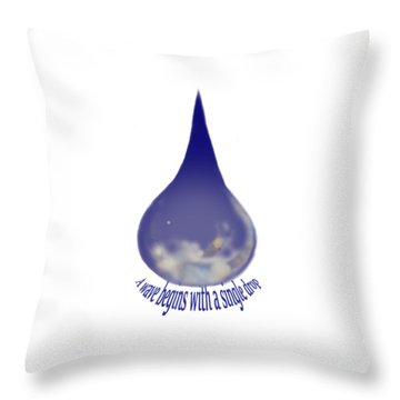 Throw Pillow featuring the painting I'm A Drop. Join Me. by Kym Nicolas
