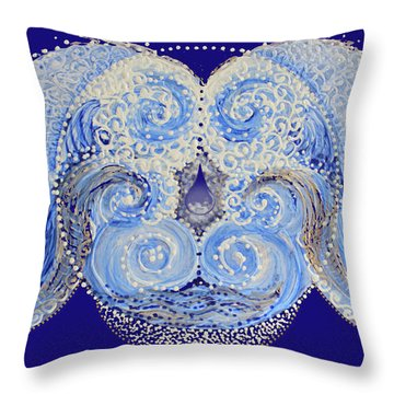 Throw Pillow featuring the painting I'm A Drop In The Blue Wave. Join Me by Kym Nicolas
