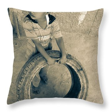 Throw Pillow featuring the photograph I'm Holding On For The Right Buyer  by Jez C Self