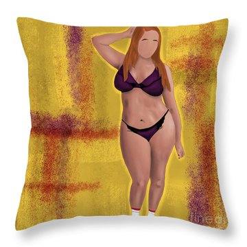 Throw Pillow featuring the digital art I'm No Model Either by Bria Elyce