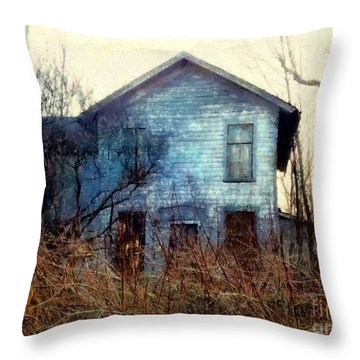 Throw Pillow featuring the photograph I'm Not Home Right Now, Please Leave A Message - Abandoned Farmhouse by Janine Riley