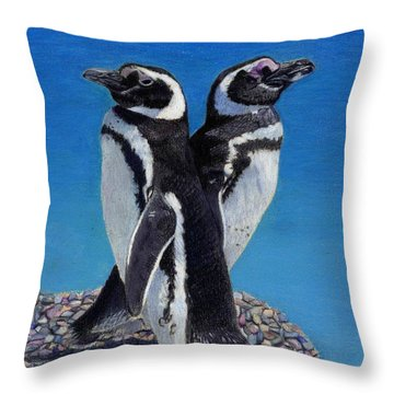 I'm Not Talking To You - Penguins Throw Pillow by Patricia Barmatz