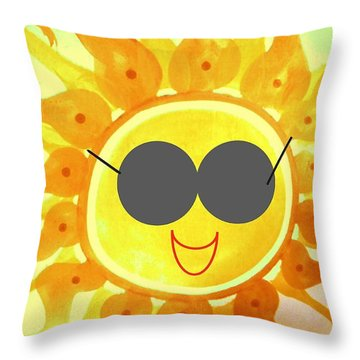 Throw Pillow featuring the painting I'm Too Hot For My Shades by Denise Fulmer