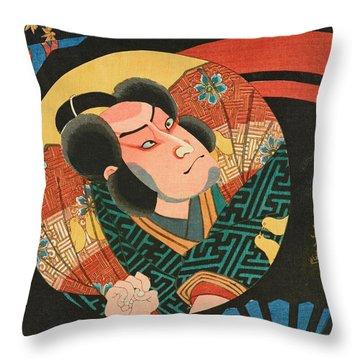 Image Of A Kabuki Actor On A Folding Fan Throw Pillow