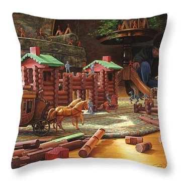 Throw Pillow featuring the painting Imagination Final Frontier by Greg Olsen
