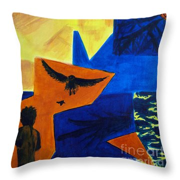 Throw Pillow featuring the painting Imagination by Maria Langgle