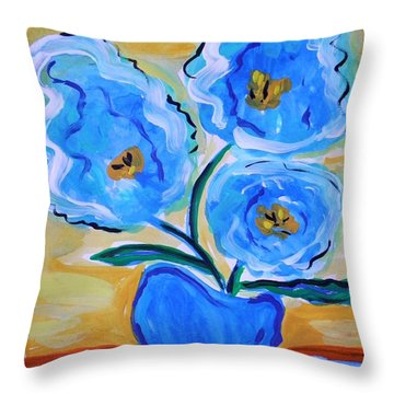 Throw Pillow featuring the painting Imagine In Blue by Mary Carol Williams