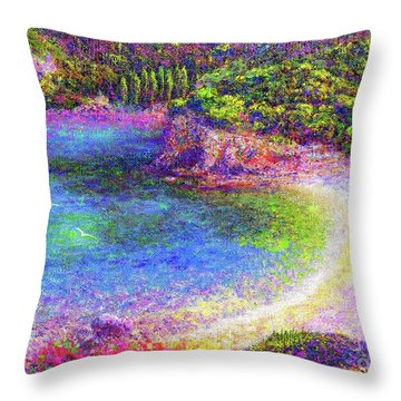 Imagine, Meditating In Beautiful Bay,seascape Throw Pillow