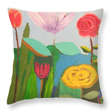 Throw Pillow featuring the painting Imagined Flowers One by Rod Ismay