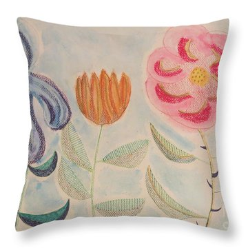 Throw Pillow featuring the painting Imagined Flowers Two by Rod Ismay