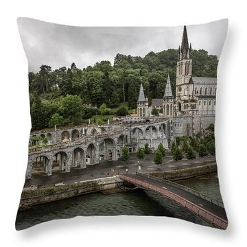 Immaculate Conception And Rosary Basilica Throw Pillow
