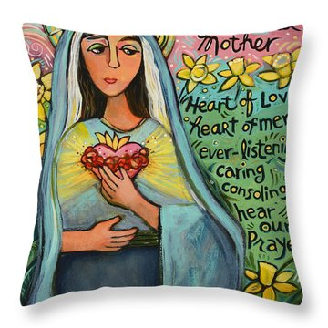 Immaculate Heart Of Mary Throw Pillow