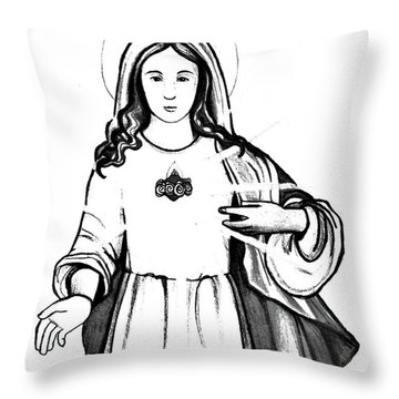 Throw Pillow featuring the drawing Immaculate Heart Of Mary by Mary Ellen Frazee