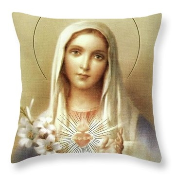 Throw Pillow featuring the mixed media Immaculate Heart Of Mary by Movie Poster Prints