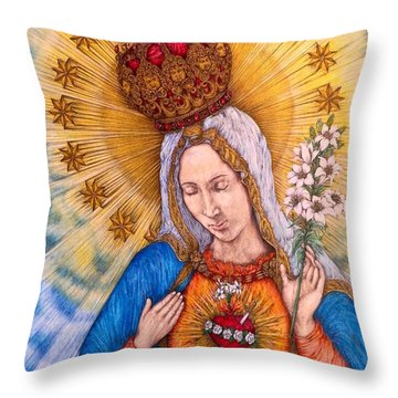 Immaculate Heart Of Virgin Mary Throw Pillow by Kent Chua