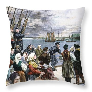 Immigrants On Ship, 1887 Throw Pillow by Granger