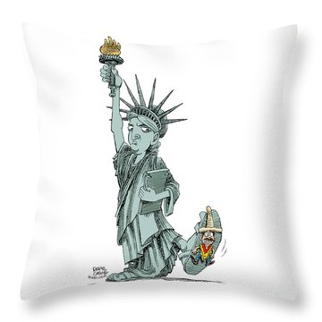 Immigration And Liberty Throw Pillow