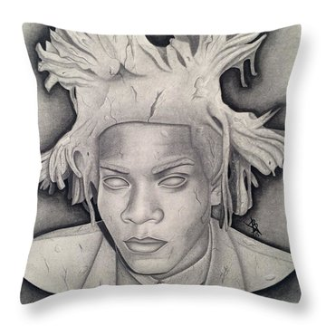Immortalizing In Stone Jean Michel Basquiat Drawing Throw Pillow