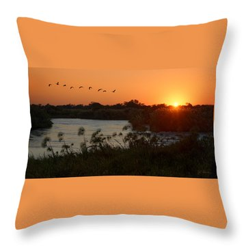 Impalila Island Sunrise Throw Pillow