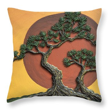 Impasto - Bonsai With Sun - One Throw Pillow
