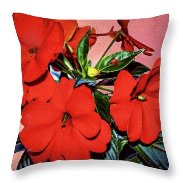 Impatience With Ladybug Throw Pillow by Diane Schuster