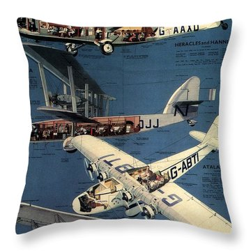 Imperial Airways - The Greatest Air Service In The World - Retro Travel Poster - Vintage Poster Throw Pillow
