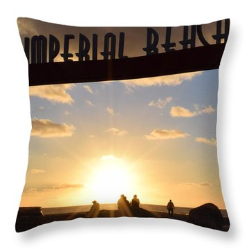 Imperial Beach At Sunset Throw Pillow