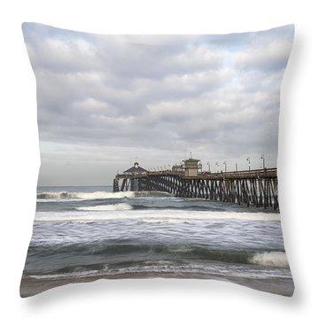 Imperial Beach Pier Throw Pillow by Joseph S Giacalone