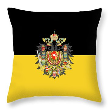 Throw Pillow featuring the digital art Habsburg Flag With Imperial Coat Of Arms 1 by Helga Novelli