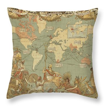 Imperial Map Throw Pillow