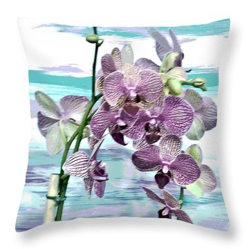 Imperial Orchids Throw Pillow by Marsha Heiken