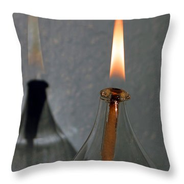 Throw Pillow featuring the digital art Impossible Shadow Oil Lamp by Jana Russon