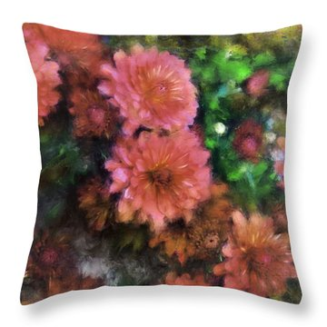 Bronze And Pink Mums Throw Pillow