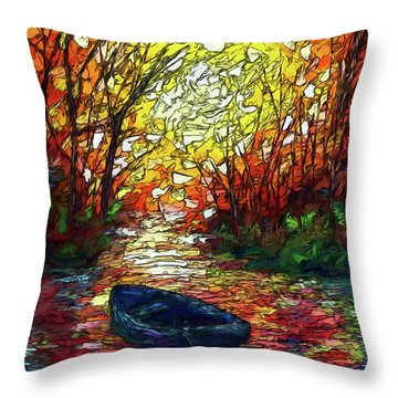 Throw Pillow featuring the painting Impression Sunset Print From Olena Art Original Oil Painting #pixels   by OLena Art Brand