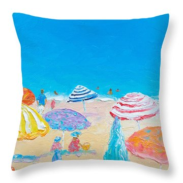 Impressionist Beach Painting Throw Pillow
