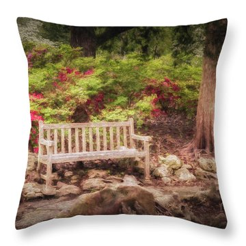 Throw Pillow featuring the photograph Impressionist Bench by James Barber