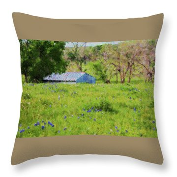 Throw Pillow featuring the digital art Impressionist Bluebonnets And Barn by Ellen Barron O'Reilly