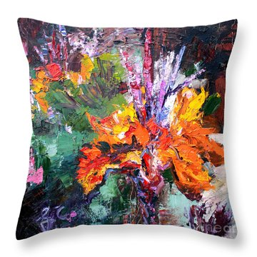 Impressionist Canna Flower Oil Painting  Throw Pillow