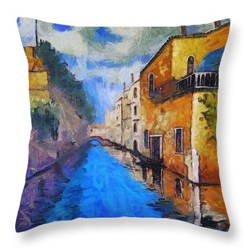 Impressionist D'art At The Canal Throw Pillow