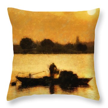 Impressionist Dawn Throw Pillow by Cameron Wood
