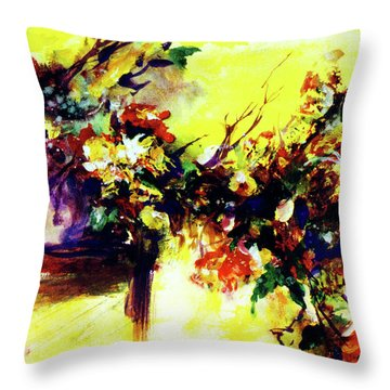Impressionist Flowers #112, Throw Pillow by Donald k Hall