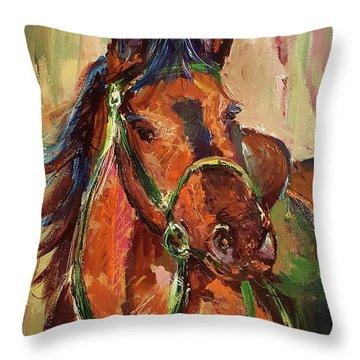 Impressionist Horse Throw Pillow