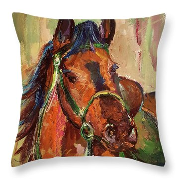 Impressionist Horse Throw Pillow by Janet Garcia