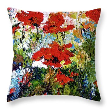 Impressionist Red Poppies Provencale Throw Pillow