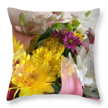 Impressionist Spring Bouquet Throw Pillow